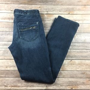 BAYLA SKINNY ZIPPER JEANS DARK WASH